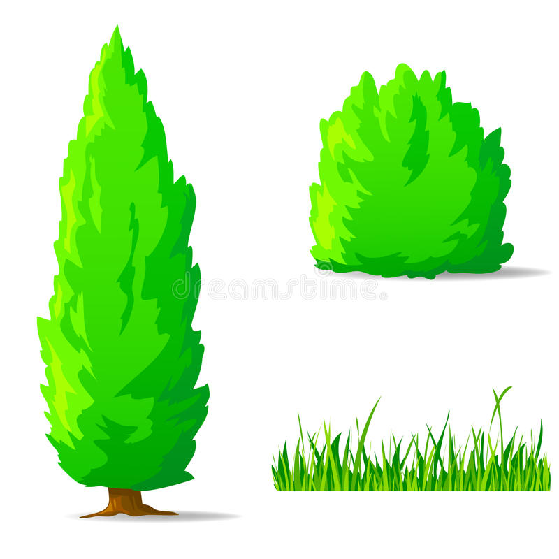 Set of cartoon green plants and tree. stock illustration