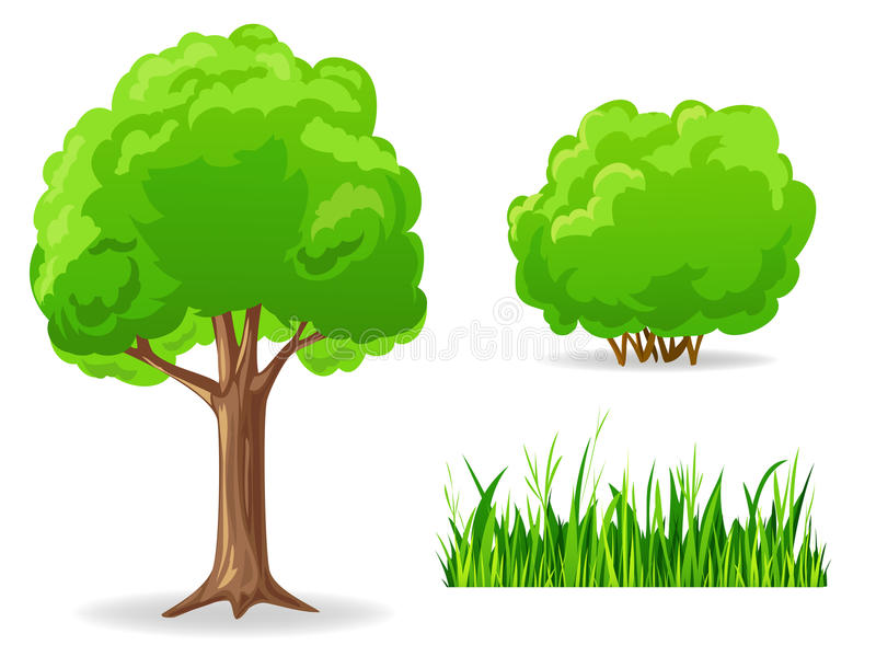 Set of cartoon green plants. Tree, bush, grass. royalty free illustration