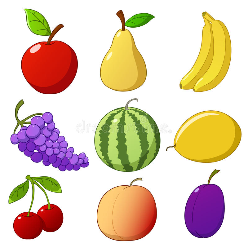Set Cartoon Hand Drawn Fruits Royalty Free Stock Photo