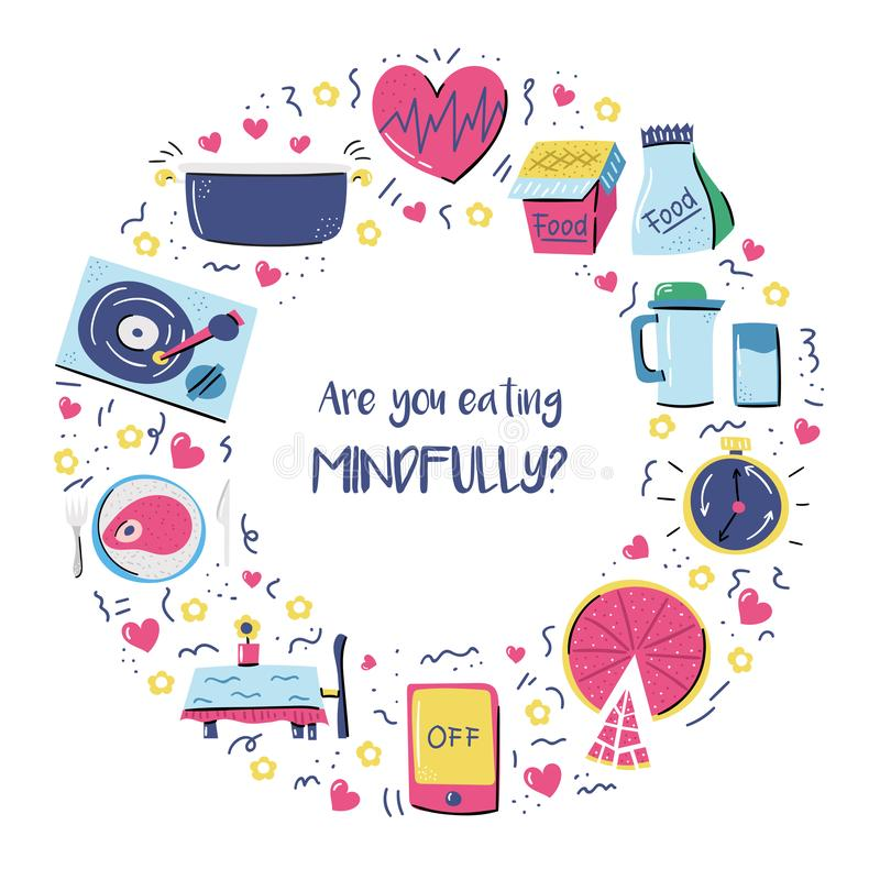 Set of cartoon hand drawn objects on mindful eating theme stock image