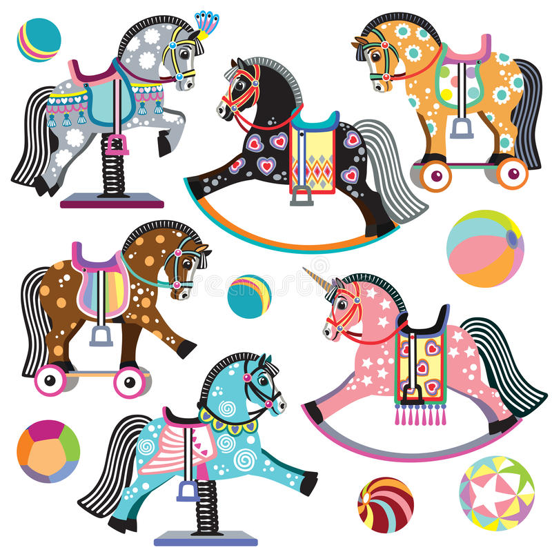 Set of cartoon horse toys. Cartoon set of pony toys. On wheels, rocking and spring horses for baby and little kid. Isolated vector illustration royalty free illustration