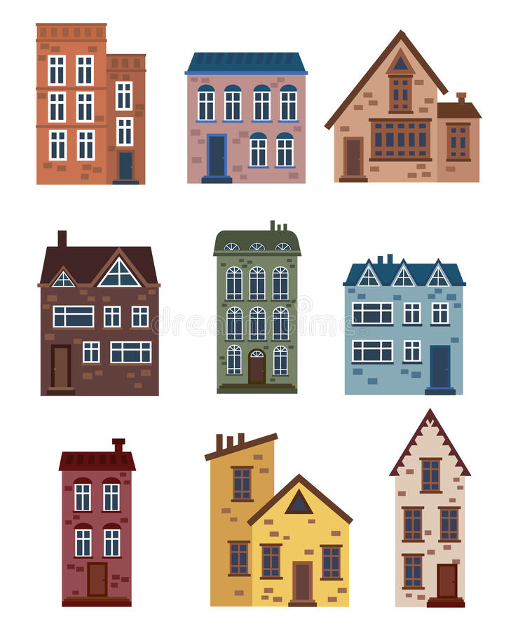 Set of cartoon houses. Collection of stylized houses. Architectural constructions. Vector illustration of a city. Art. Set of cartoon houses. Collection of vector illustration