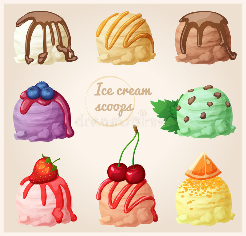 Set of cartoon ice cream icons. Ice cream scoops with different toppings and flavors. Vanilla with chocolate syrup. Creme brulee with caramel, chocolate royalty free illustration