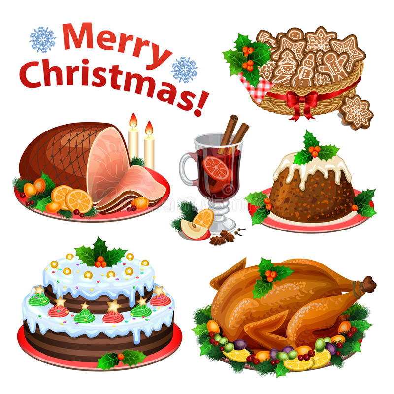 Set of cartoon icons for Christmas dinner stock illustration
