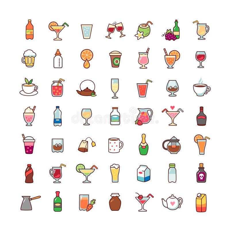 Drinks icons set stock illustration