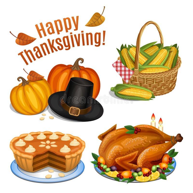 Set of cartoon icons for thanksgiving dinner, roast Turkey. Pumpkin, pumpkin pie, pilgrim hat, corn. Vector illustration stock illustration