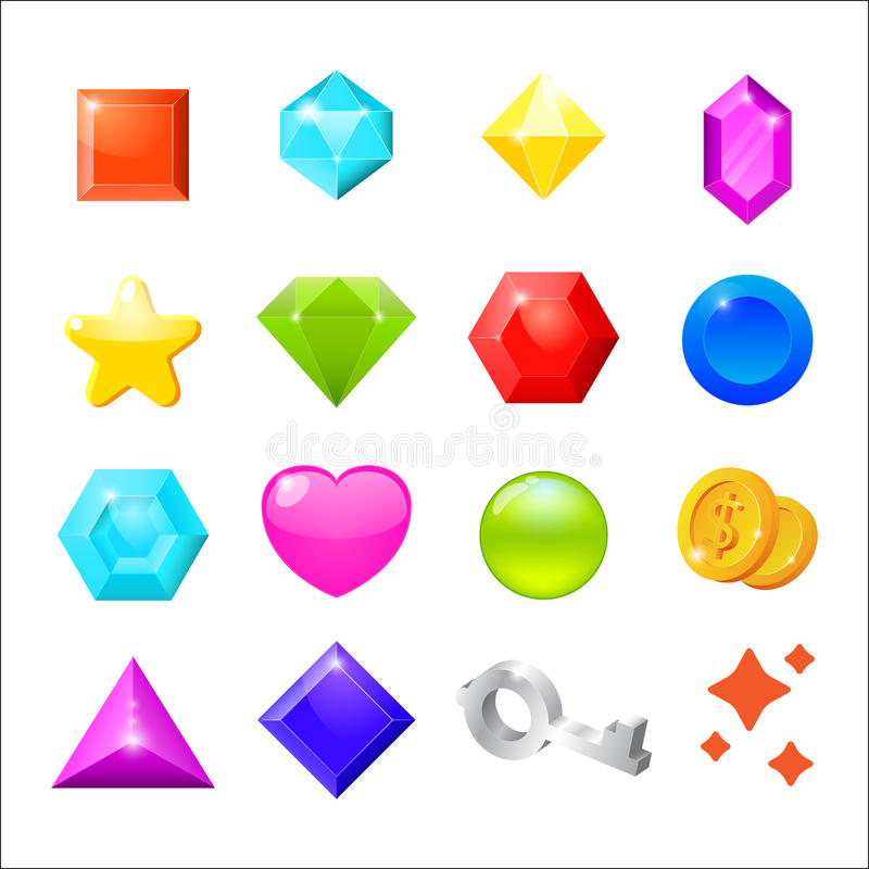Set of cartoon icons for web interface and. Computer games. Gemstones, coin, star, heart, key on white background. Vector illustration stock illustration