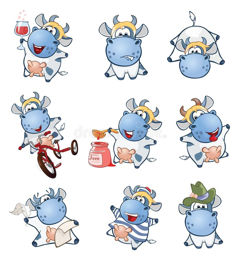 Set of Cartoon Illustration. A Cute Cow for you Design vector illustration