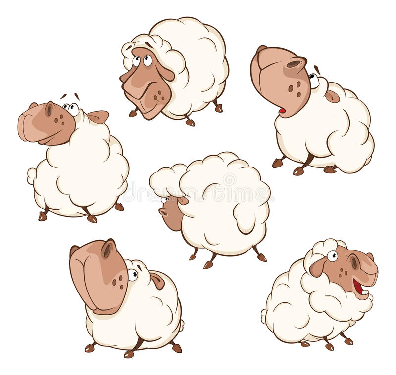 Set of Cartoon Illustration. A Different Sheep for you Design. Cartoon Character royalty free illustration