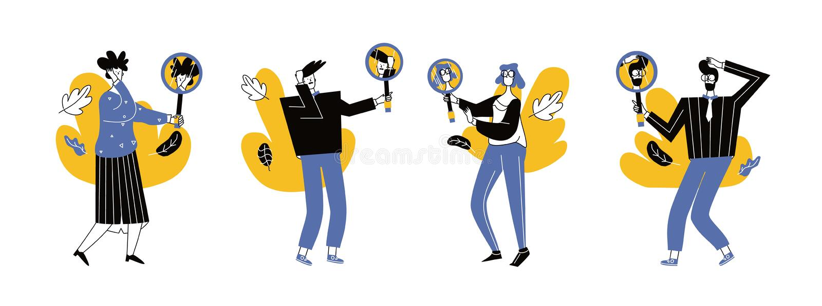 Set of Cartoon  illustration of man and woman looking at his reflection in mirror. Set  of Cartoon  illustration of man and woman looking at his reflection in royalty free illustration