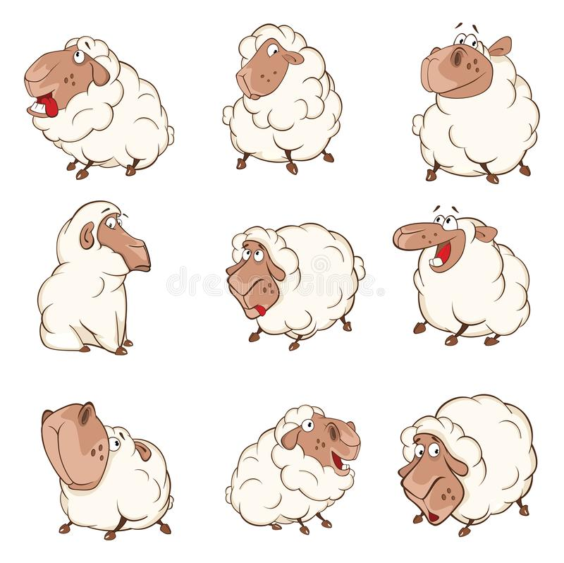 Set of Cartoon Illustration Sheep for you Design stock illustration