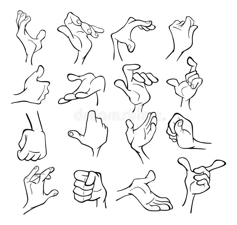 A Set of Cartoon Illustrations. Hands with Different Gestures for you Design. Coloring Book. Outline stock illustration