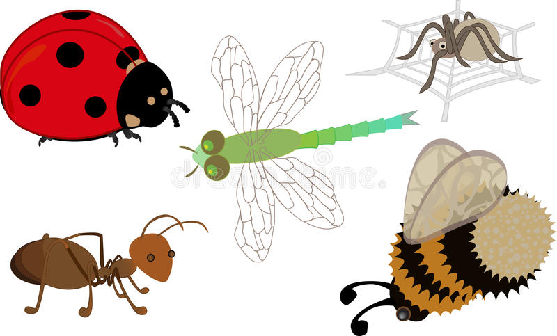 A Set Of Cartoon Insects Royalty Free Stock Photos