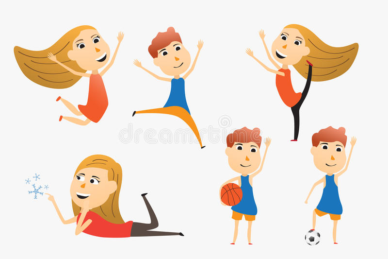 Set of cartoon kids use for advertising or presentation. vector. Illustration stock illustration