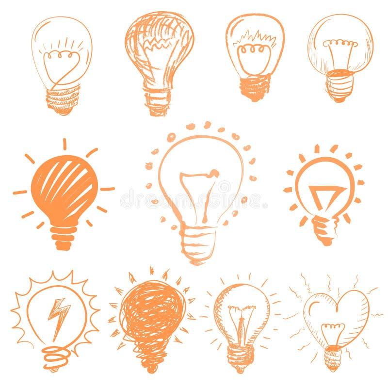 Set of cartoon light bulbs. Symbol ideas.  vector illustration