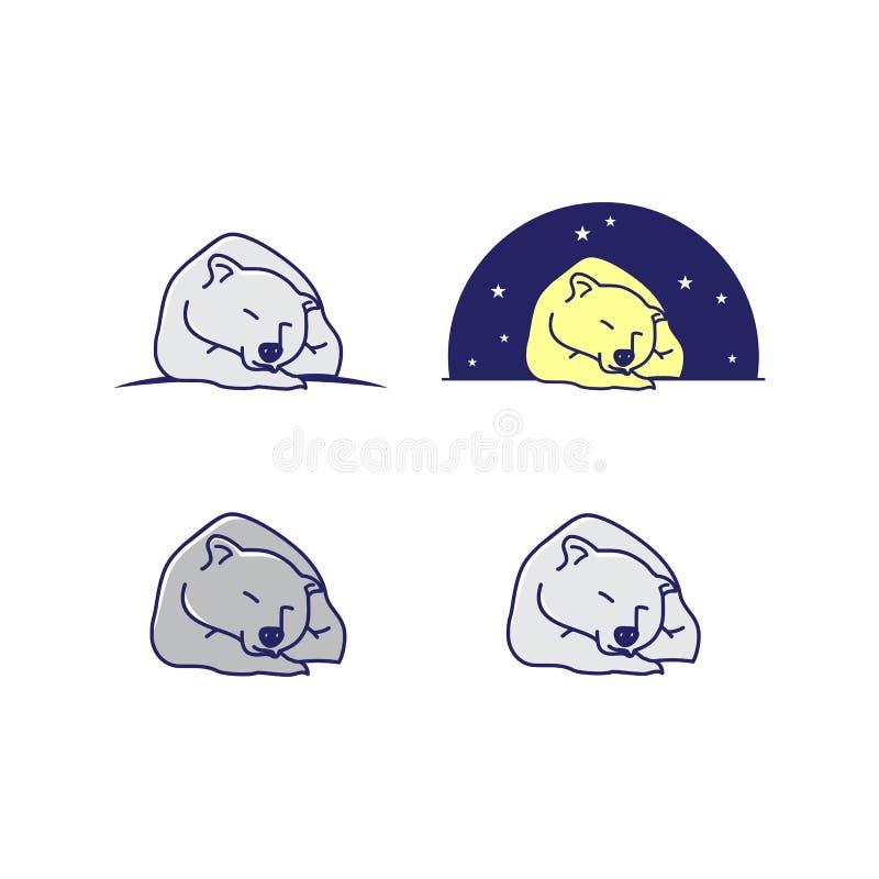 Set of cartoon line art sleeping bear vector design illustration. Abstract Bear sleeping vector design royalty free illustration