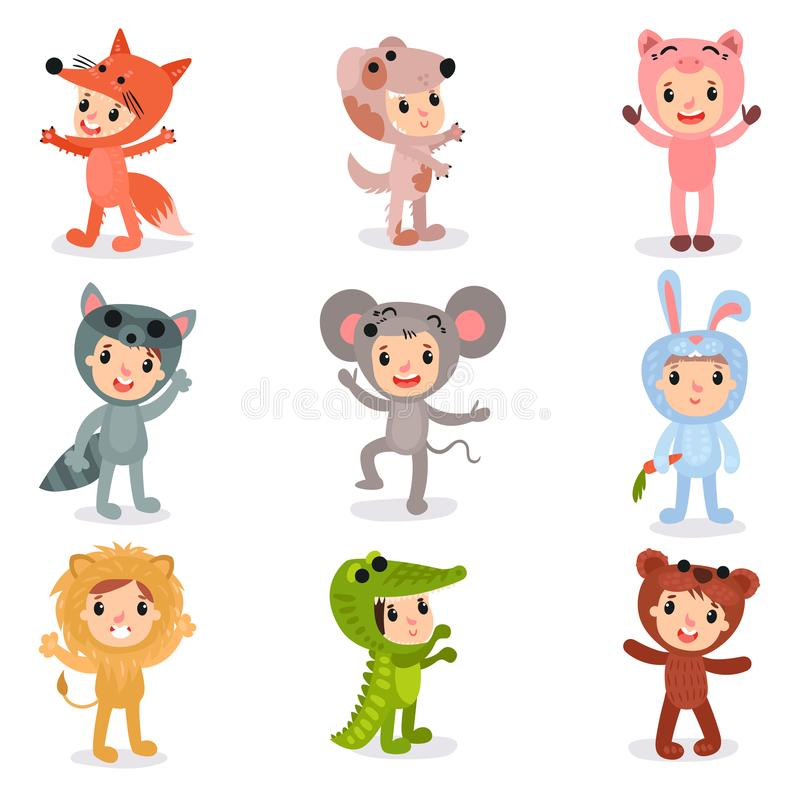 Set of cartoon little kids characters in animal costumes fox, puppy, pig, raccoon, mouse, bunny, lion, crocodile and. Bear. Children wearing jumpsuit for party stock illustration