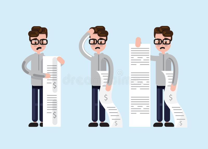 Set of cartoon man with bills. Simple cartoon man in glasses looking scared and depressed while holding long paper bills stock illustration
