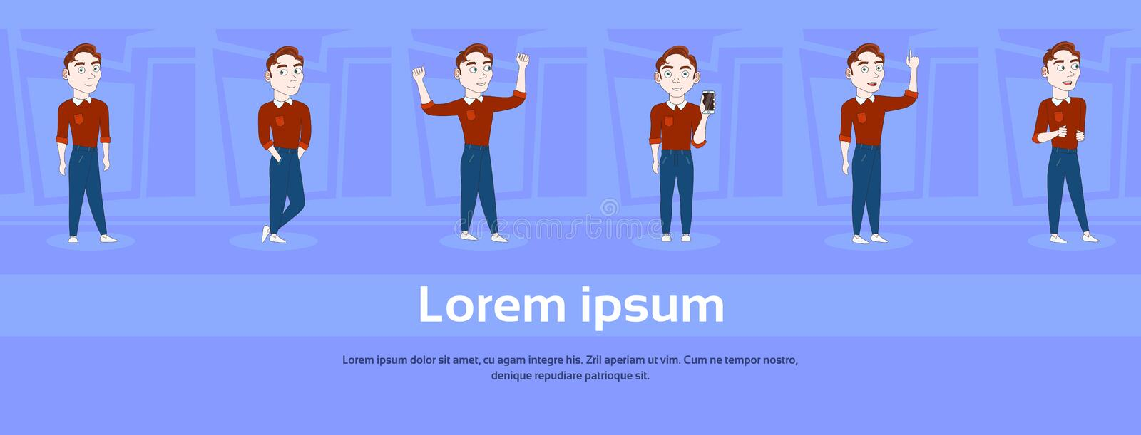 Set Of Cartoon Man In Casual Clothes In Different Poses Over Abstract Blue Background With Copy Space royalty free illustration