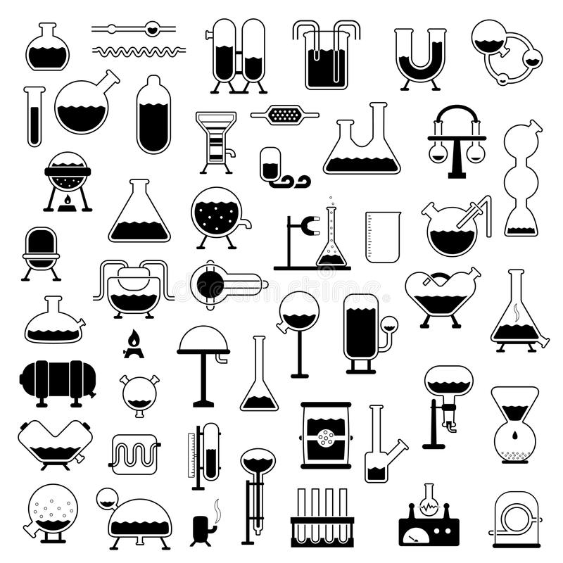 Download Set Of Cartoon Mechanisms Silhouettes Stock Photo - Image: 26142360