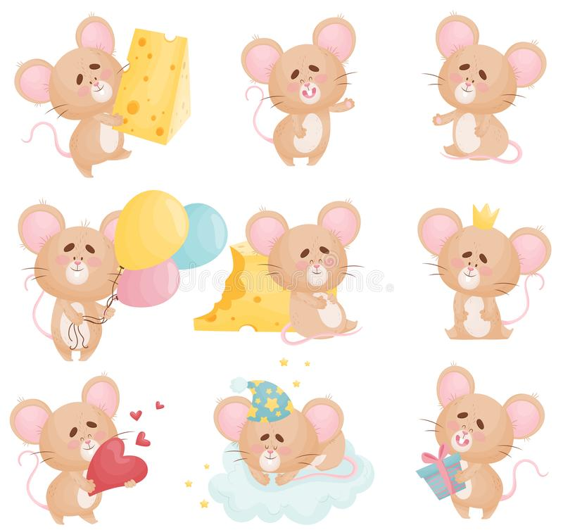 Set of cartoon mice in different situations. Vector illustration. Set of cute humanized mice sleeping on a cloud, eating cheese, holding balloons, a gift and a stock illustration