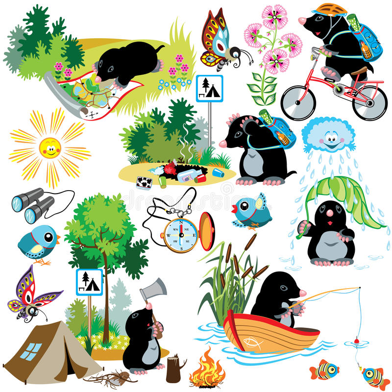 Set with cartoon mole in camping. Cartoon set with mole in camping, difference situation, images for little kids stock illustration