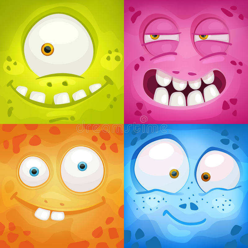 Set of cartoon monster faces. With different emotions vector illustration