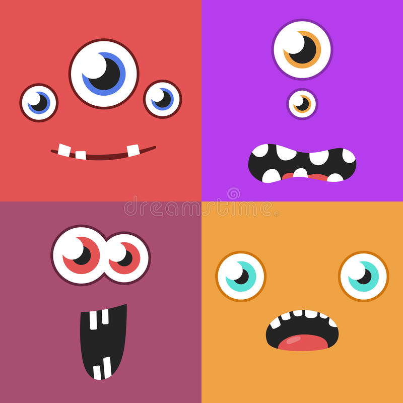 Set of cartoon monster faces with different expression of emotions. Bright emotional avatar collection. Kid theme vector illustration