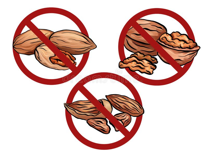 Set of cartoon nuts in the prohibition sign. Free from nuts. Ban on allergens. Allergy Alert. Vector element for recipes, menus, stock illustration