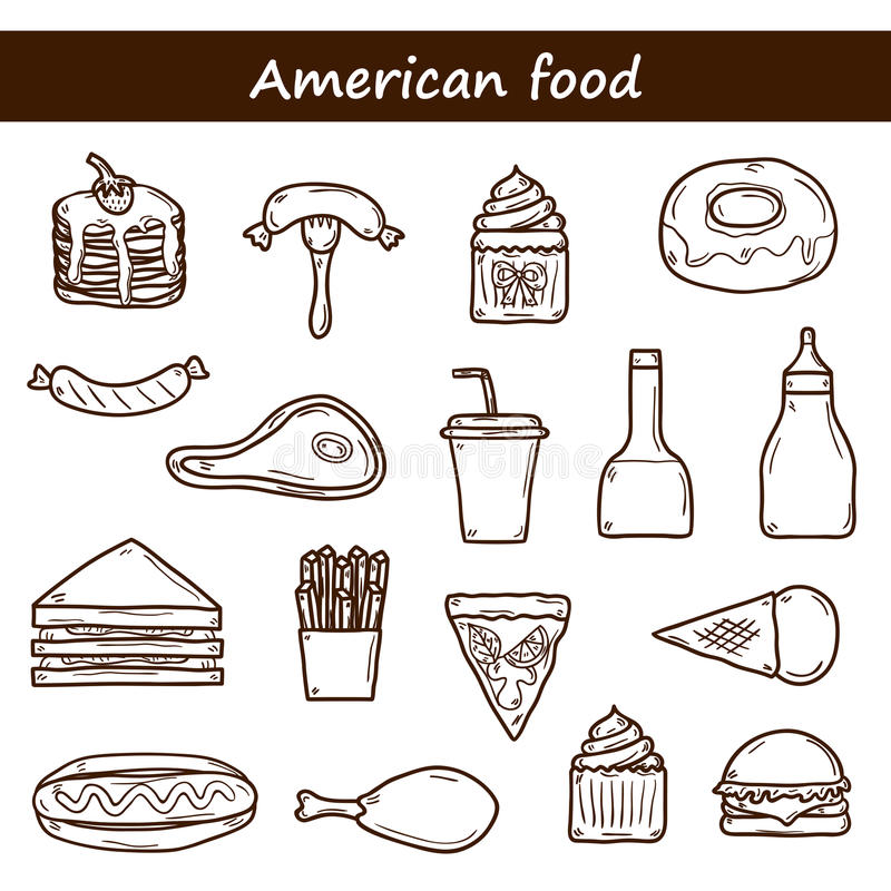 Download Set Of Cartoon Objects On American Food Theme Stock Vector - Illustration of cheese, menu: 57203363