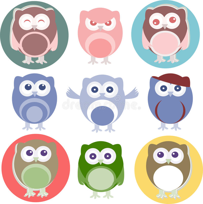 Download Set Of Cartoon Owls With Various Emotions Stock Photos - Image: 25016853