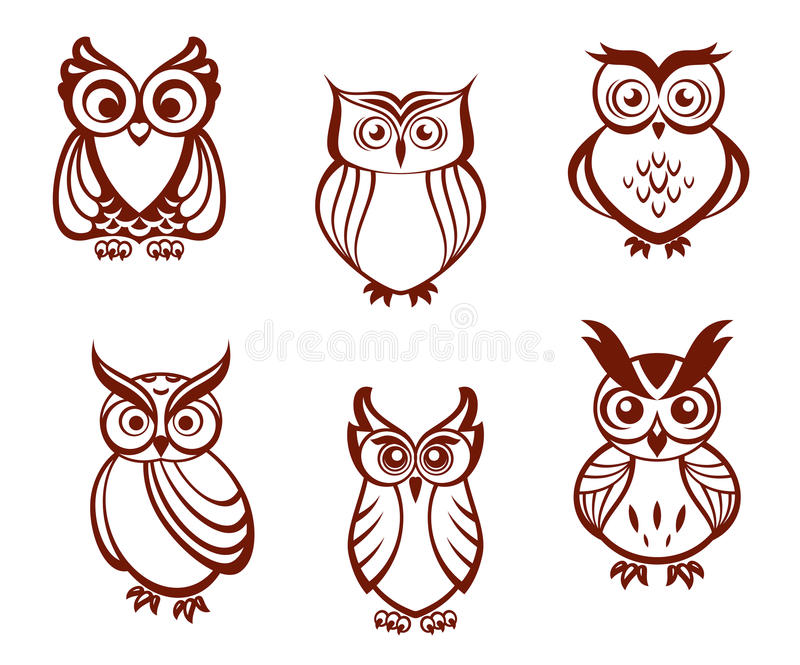 Download Set of cartoon owls stock vector. Image of vintage, symbol - 31654861