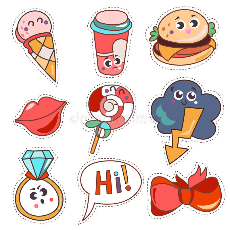 Set cartoon patch badges or fashion pin. Badges. Candy, cloud, cup, cloud, ring, lips, ribbon,ice cream, burger, hi hand drawn vector full color sketch royalty free illustration