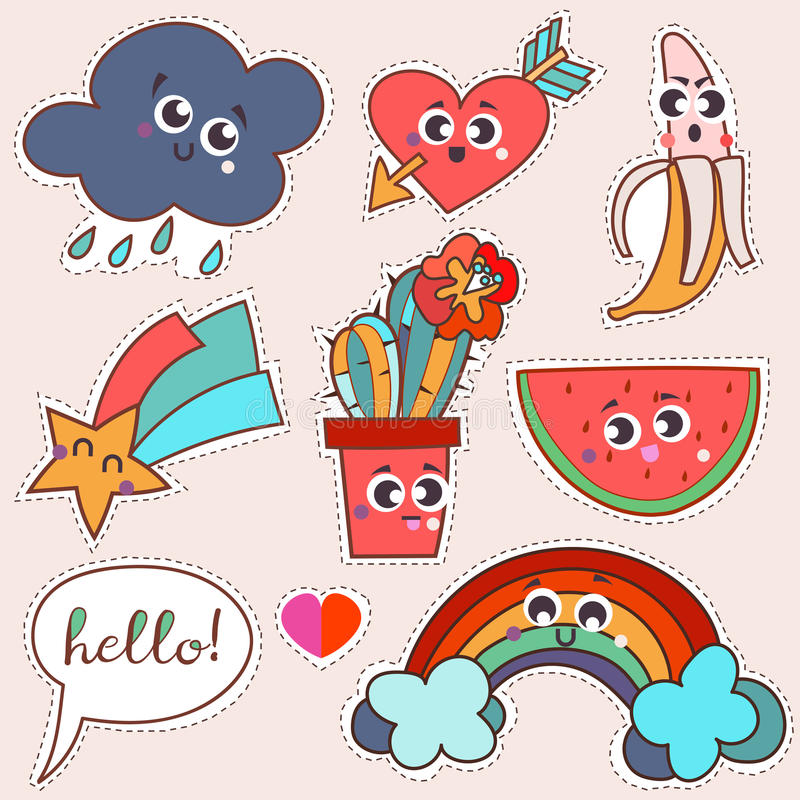 Set cartoon patch badges or fashion pin. Badges.Cloud, rainbow, cactus, star, water-melon, banana, heart, arrow, love hand drawn vector full color sketch vector illustration