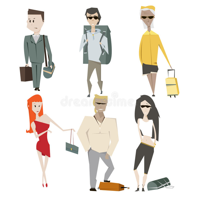 Set cartoon people summer vacation and travel concept vector illustration