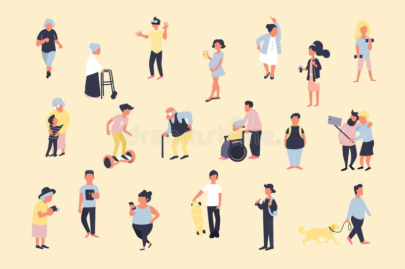 Set of cartoon people walking on street. Crowd of male and female tiny characters. Colorful vector bundle in trandy flat style. stock illustration