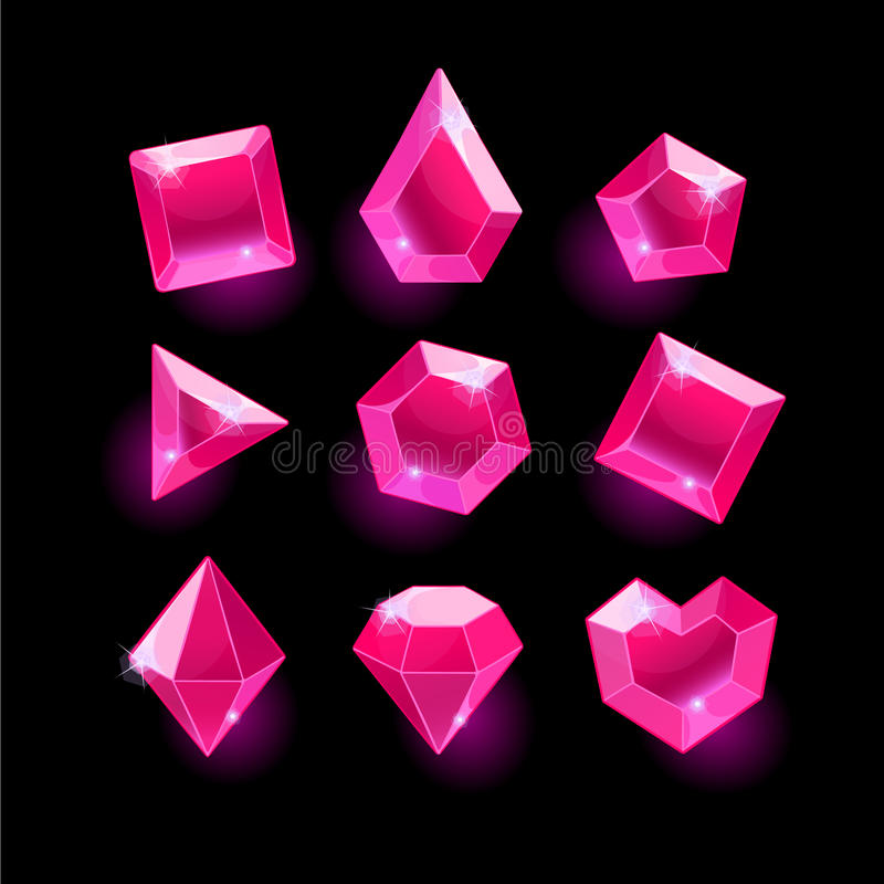 Set of cartoon pink different shapes crystals. Gemstones, gems, diamonds vector gui assets collection for game design. isolated vector elements. Gui elements stock illustration