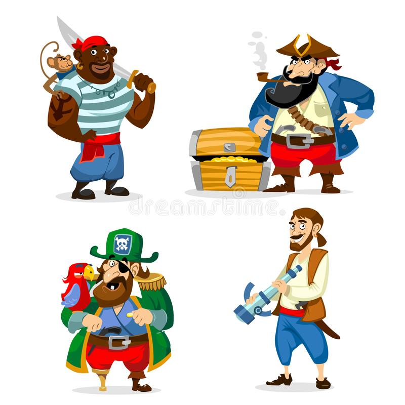 Set of cartoon pirates isolated on white background. Vecto illus vector illustration