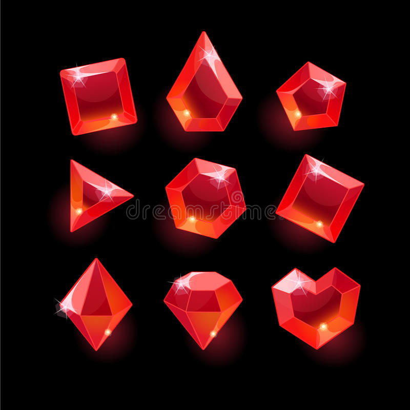 Set of cartoon red different shapes crystals. Gemstones,gems,diamonds vector gui assets collection for game design.isolated vector elements.Gui elements, vector royalty free illustration