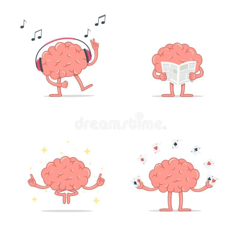 Set of cartoon smart brain relax. Listen music. Meditation. Reading newspaper. Play gambling cards. vector illustration