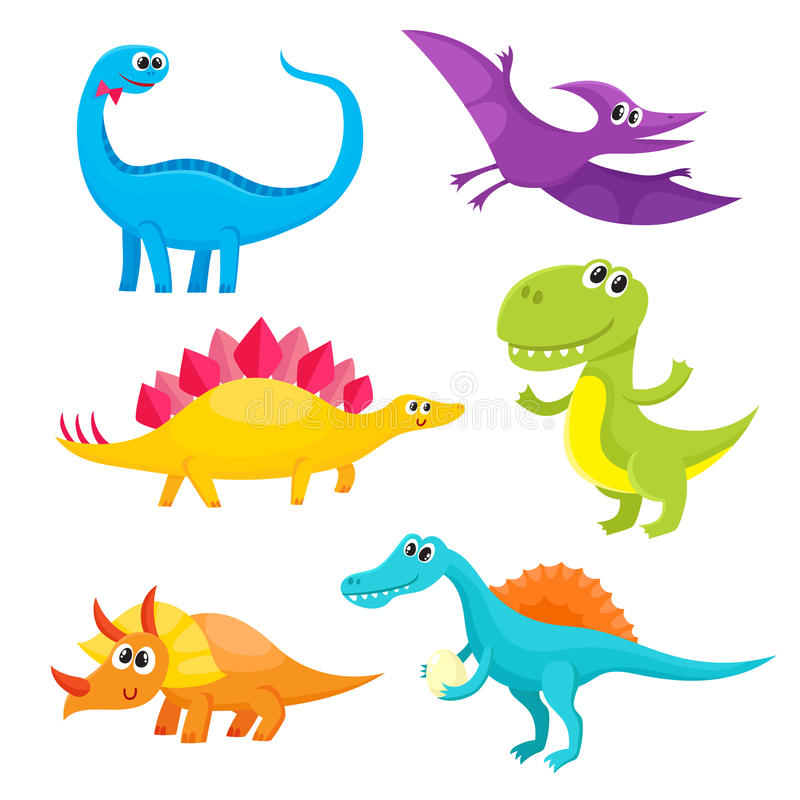 Set of cartoon style cute and funny smiling baby dinosaurs royalty free illustration