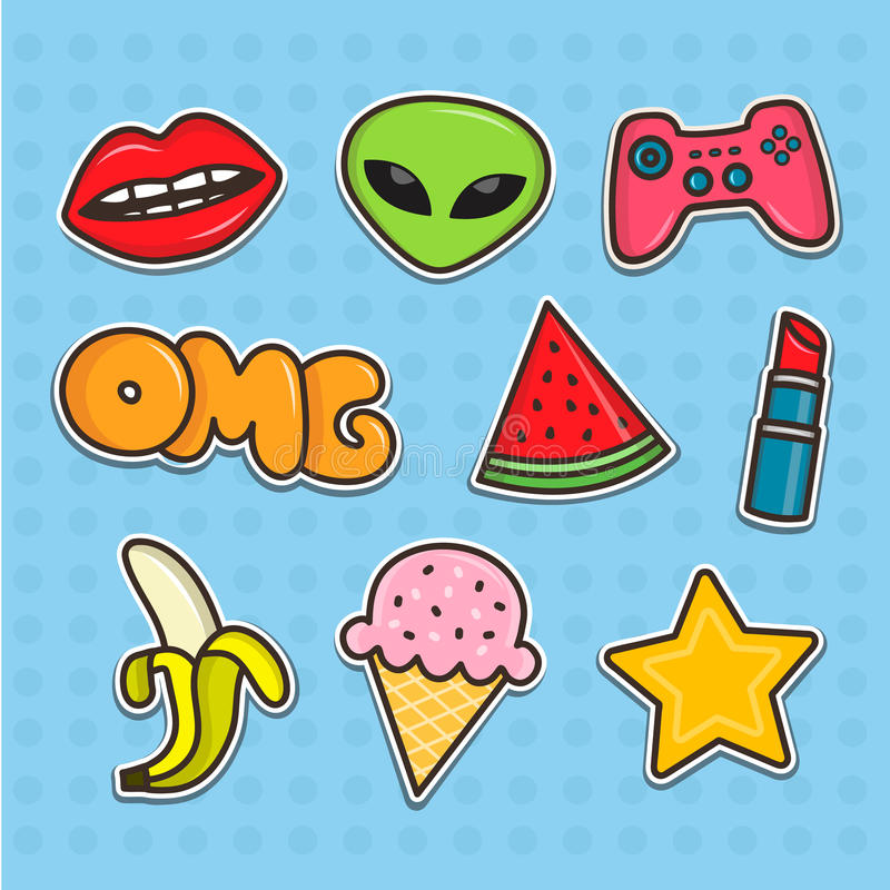 Set of cartoon teenager stickers. Flat line illustrations. Patches collection stock illustration