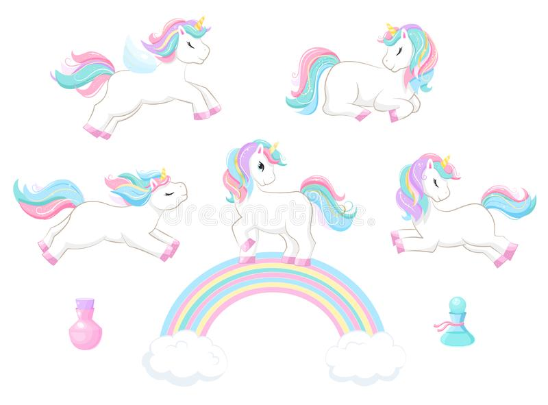 Set of cute magic cartoon unicorn. Illustration for children vector illustration