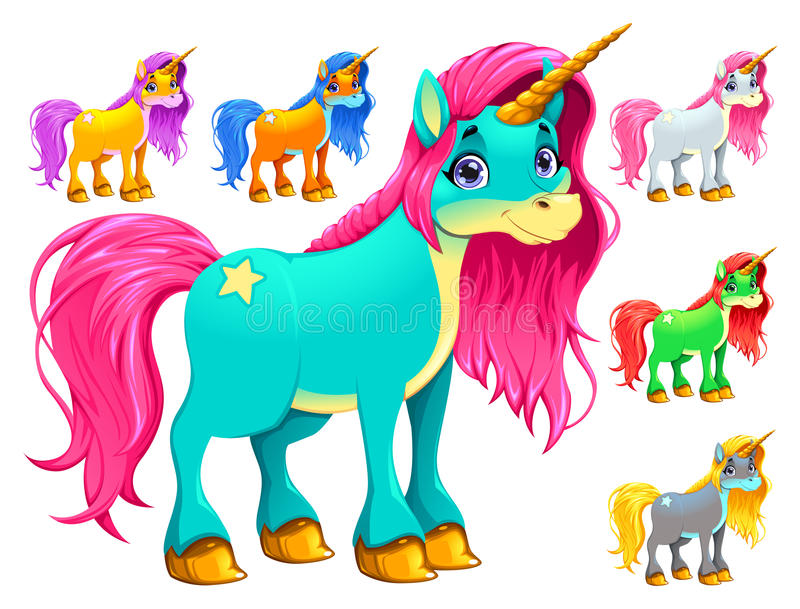 Set of cartoon unicorns. Vector cartoon isolated characters stock illustration