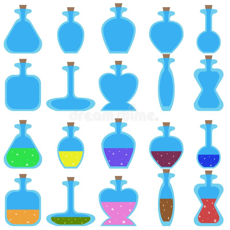 Set of cartoon vector bottles of different shape for a game. stock illustration