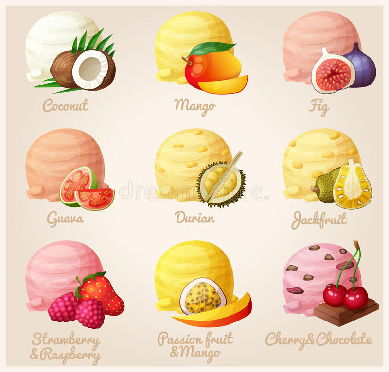 Set of cartoon vector icons. Coconut, mango, fig, guava, durian, jackfruit, strawberry and raspberry royalty free illustration