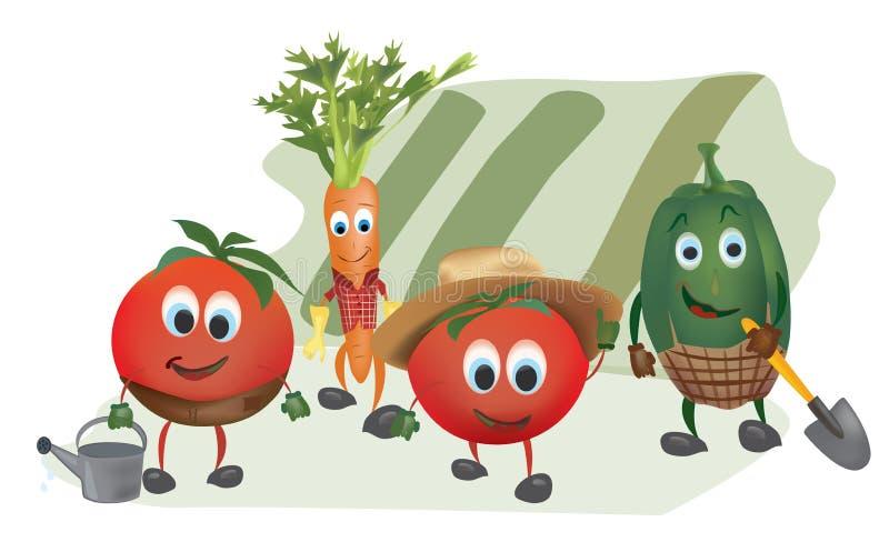 Set of Cartoon Vegetables royalty free illustration