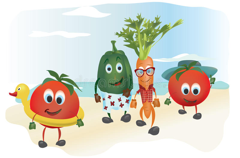 Set of Cartoon Vegetables vector illustration