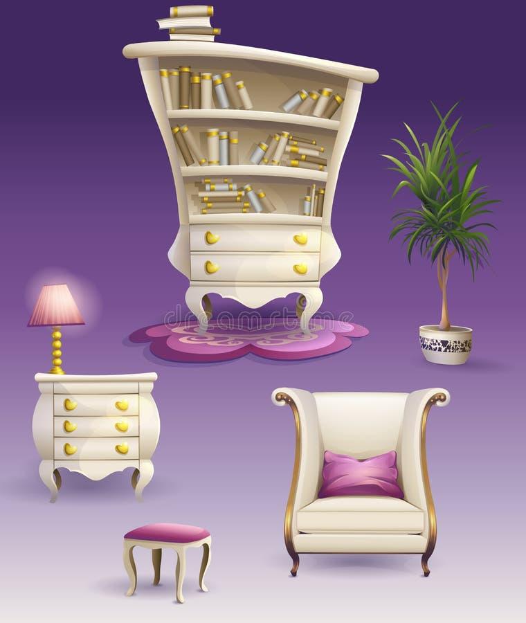 Set cartoon white bedroom furniture and cabinet.  stock illustration