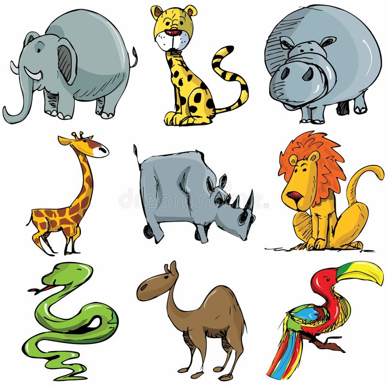 Set of cartoon wild animals stock photos